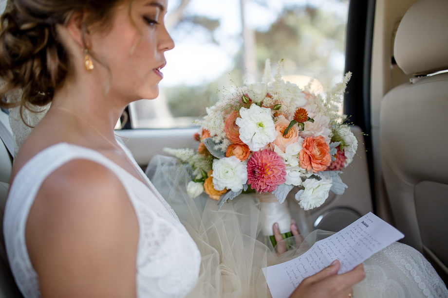 bride practicing her wedding vows in the car before ceremony - Bay Area Point Reyes Station wedding