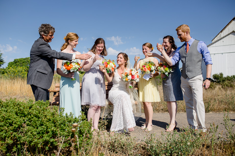 cheers with the bridal party before ceremony started