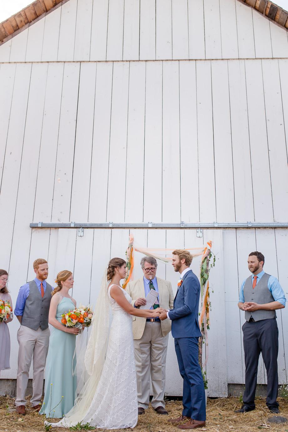 rustic California Point Reyes Station barn wedding ceremony - Bay Area journalistic wedding photographer