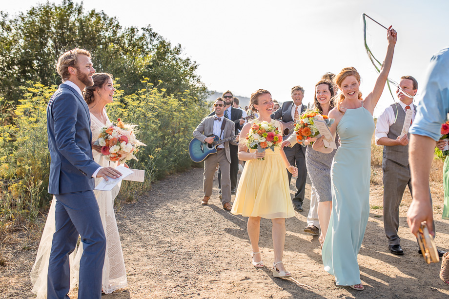 a happy and romantic wedding parade