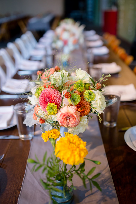 floral centerpieces at Tobys Feed Barn