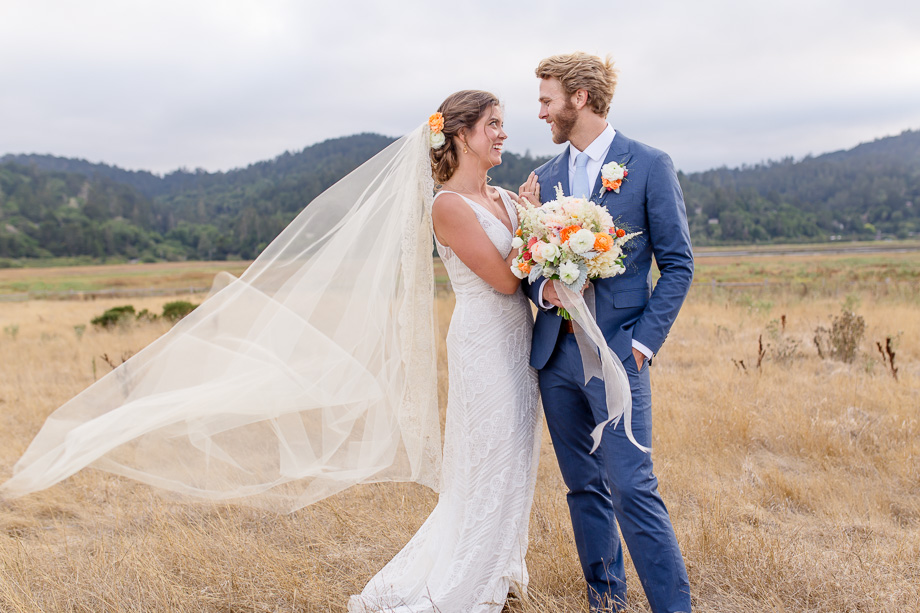 brides veil flying with the wind