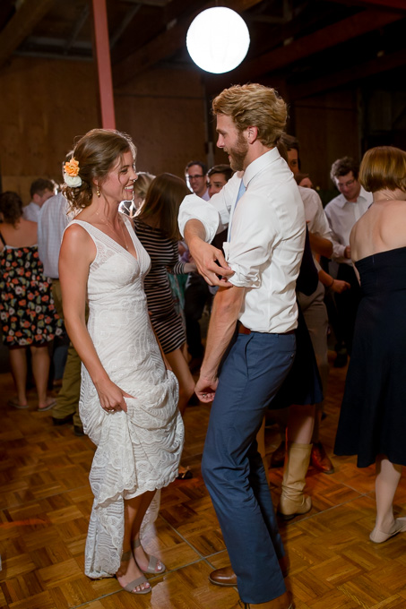 bride and groom partying with guests at nighttime reception