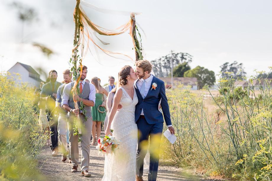 ultra romantic wedding parade captured candidly - Bay Area wedding photographer