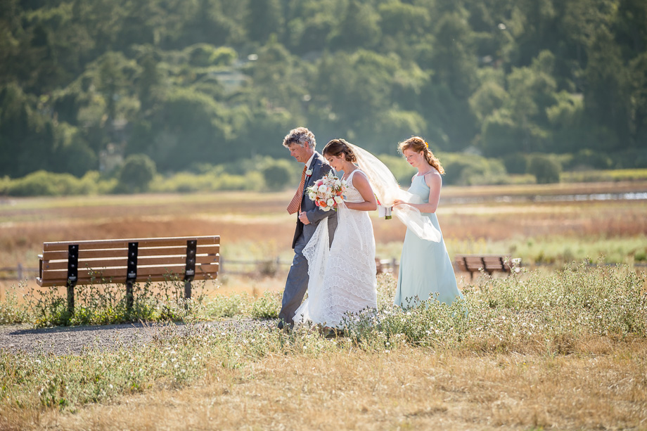 bride making her grand entrance to the Giacomini Barn - San Francisco wedding photographer