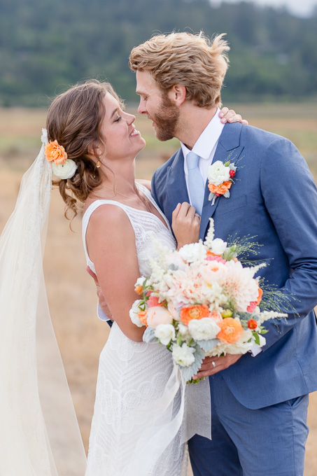 bride and groom wedding portrait at Tobys Feed barn in Point Reyes Station