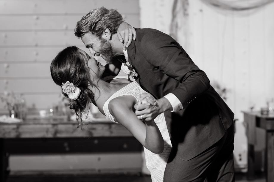 a romantic dip - Point Reyes wedding reception
