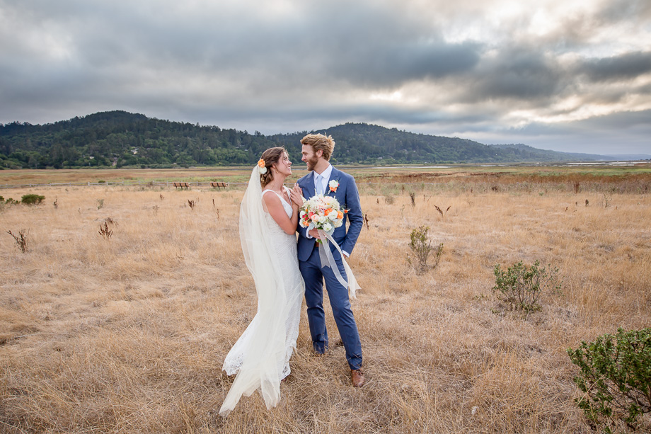 bride and groom portrait in an open field - SF wedding photographer
